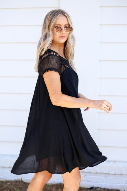 Black - Crochet Short Sleeve Mini Dress Side View