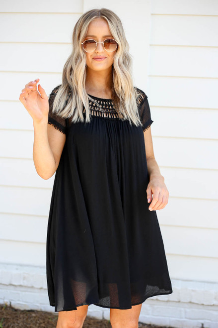 Black - Crochet Short Sleeve Mini Dress
