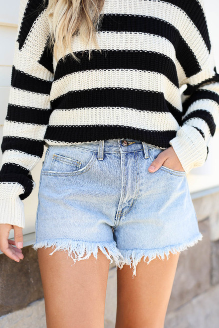 Light Wash - Distressed Hem Denim Shorts Detail View