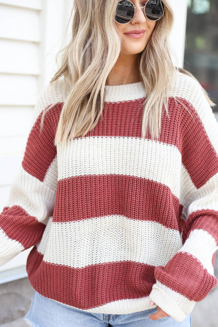 Marsala - Striped Sweater Detail View
