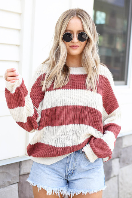 Marsala - Striped Sweater
