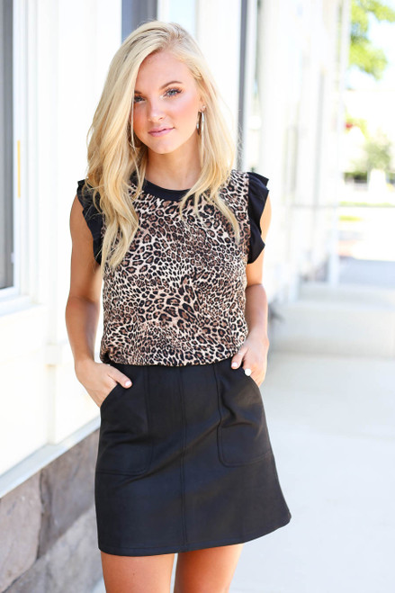 Model wearing Black Pocketed Mini Skirt Front View