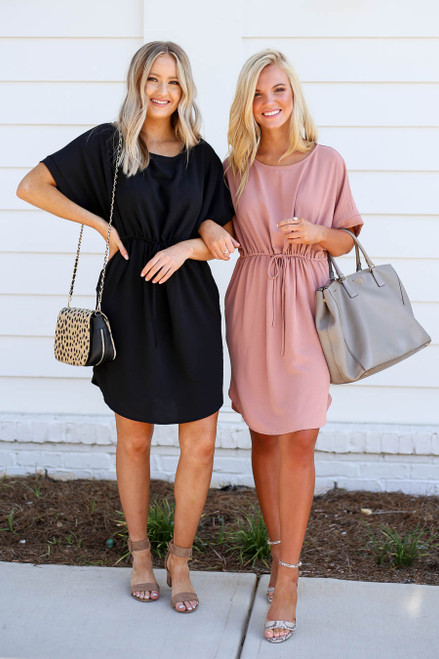 Black - and Mauve Short Sleeve Drawstring Dress