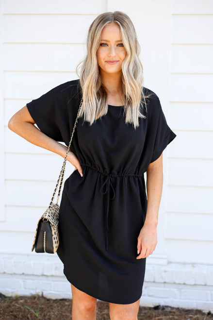 Black - Short Sleeve Drawstring Dress
