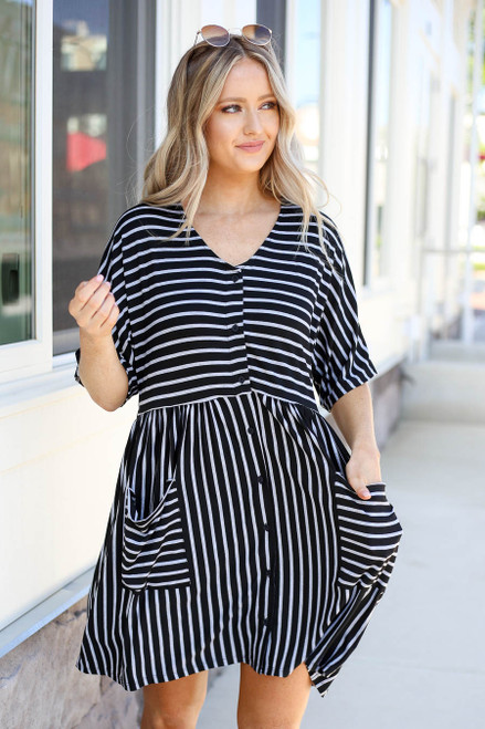 Black - Striped Babydoll Pocket Dress Front View
