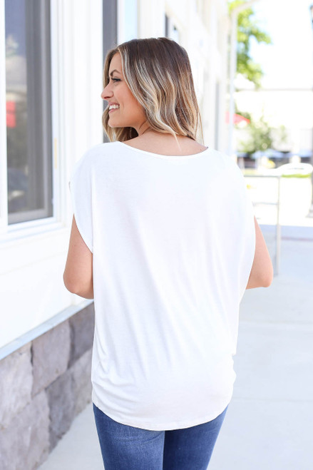 Model Wearing White Scoop Neck Top Back View