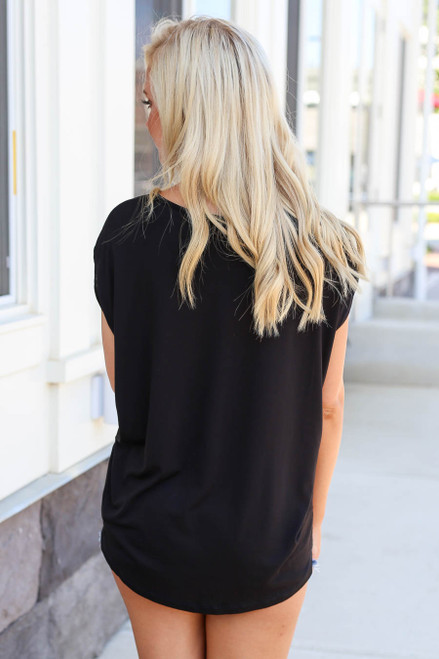 Black - Scoop Neck Top Back View