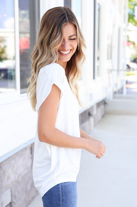 Ivory - Scoop Neck Top Side View