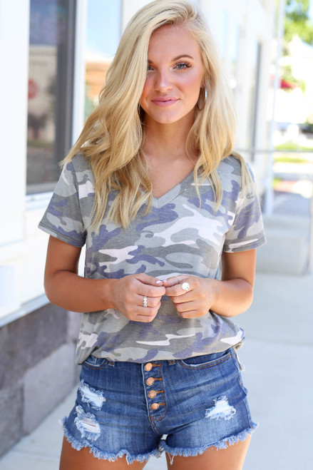Model wearing Camo V-neck Tee Front VIew