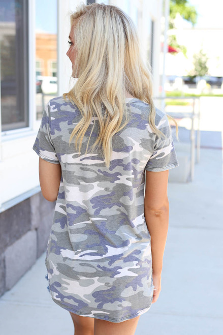Model wearing Camo V-neck Tee Back View