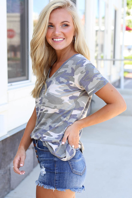 Model wearing Camo V-neck Tee Side View