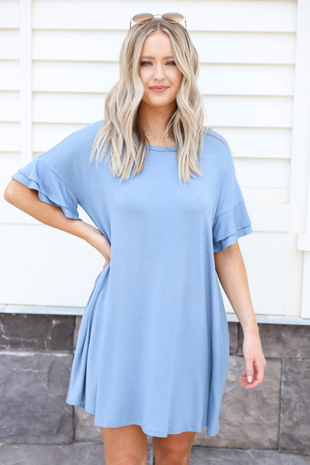 Blue - Tiered Sleeve T-Shirt Dress