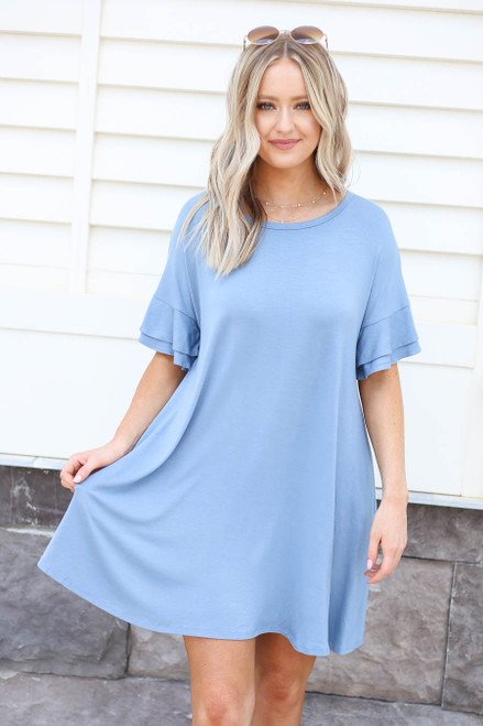 Model wearing Blue Tiered Sleeve T-Shirt Dress Front View