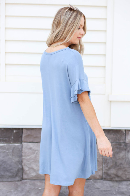 Blue - Tiered Sleeve T-Shirt Dress Back View