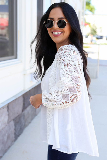Model wearing White Crochet Blouse Side View