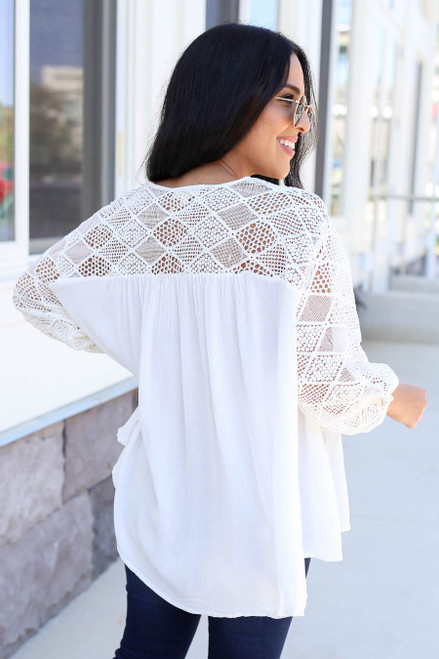 White - Crochet Blouse Back View
