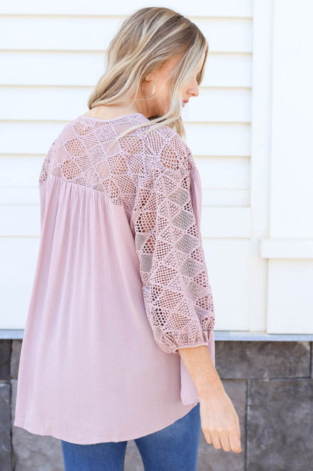 Model wearing Mauve Crochet Blouse Back View