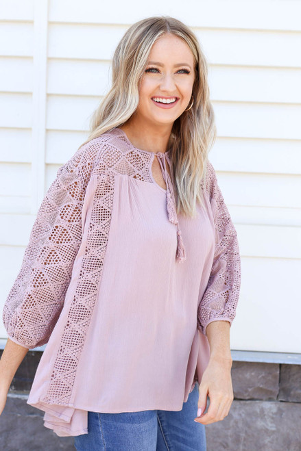 Model wearing Mauve Crochet Blouse