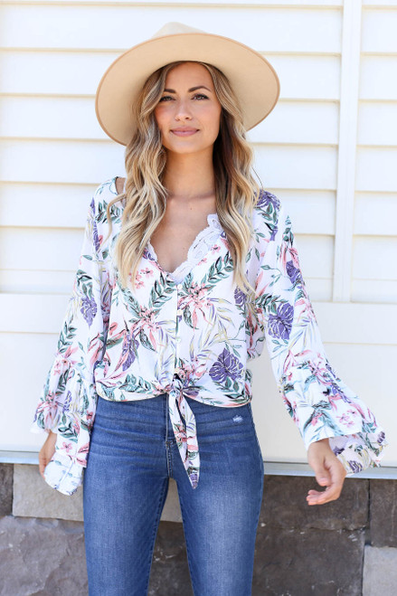 White - Floral Bell Sleeve Tie-Front Blouse