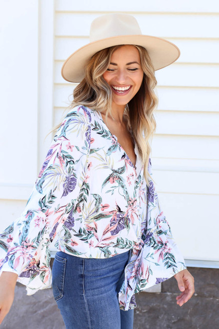 White - Floral Bell Sleeve Tie-Front Blouse Side View