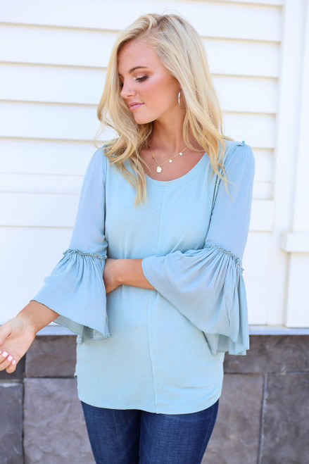 Mint - Contrast Sleeve Top