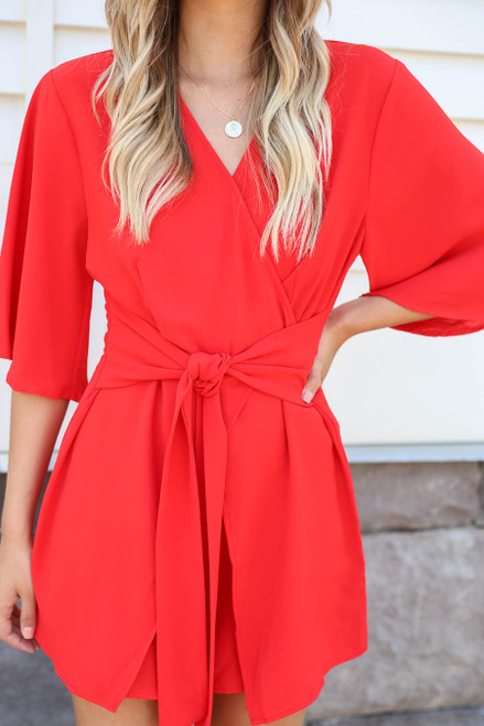 Red - Tie Front Romper Detail View