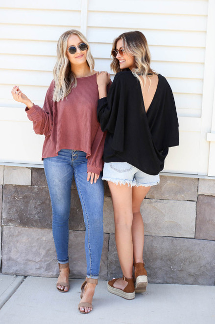 Black - and Marsala Draped Open Back Sweaters