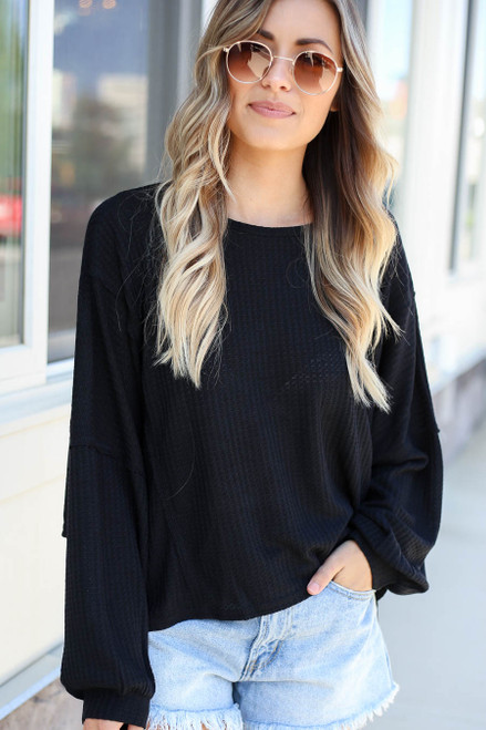 Black - Draped Open Back Sweater