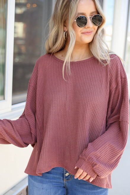 Marsala - Draped Open Back Sweater Front View