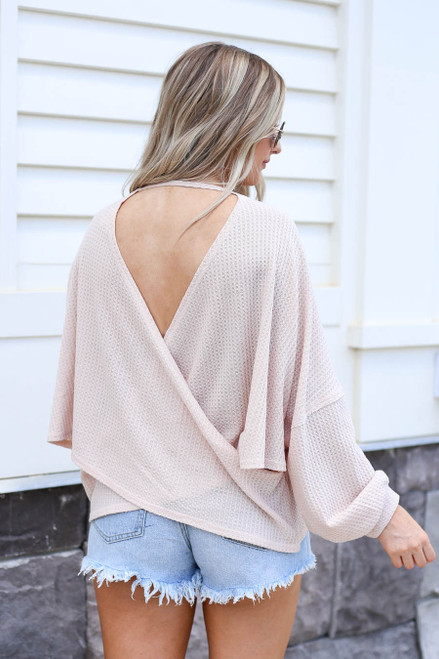 Taupe - Draped Open Back Sweater Back View