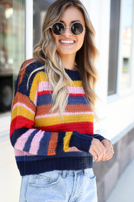 Multi - Striped Open Knit Sweater Front View