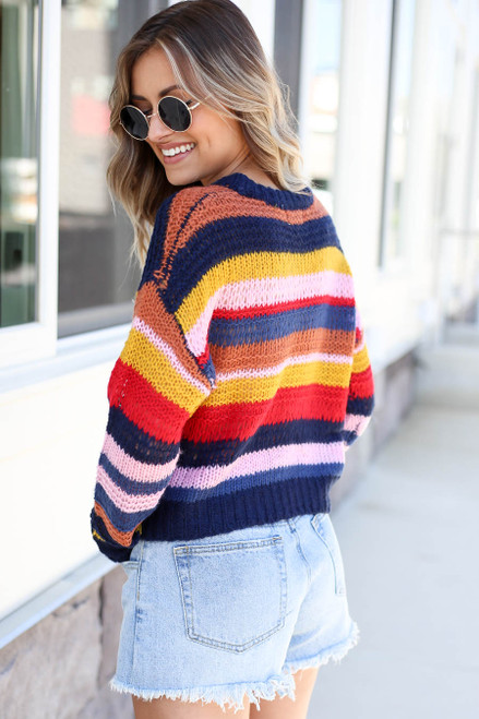 Model wearing Multi-Color Striped Open Knit Sweater Back View
