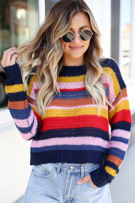 Model wearing Multi-Color Striped Open Knit Sweater Front View