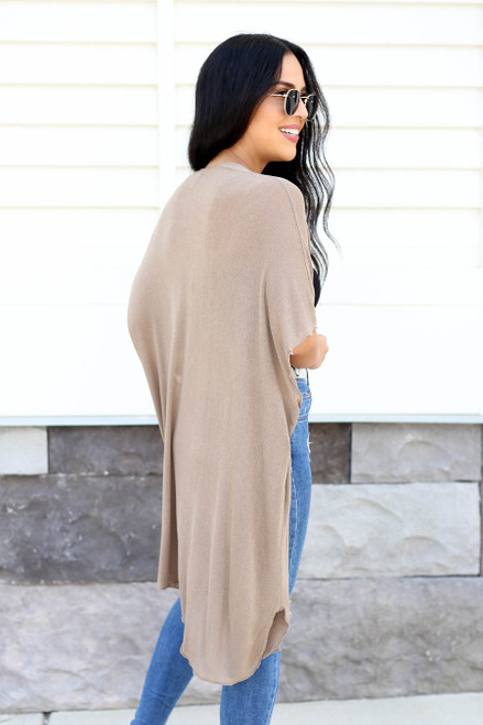 Model wearing Taupe Lightweight Knit Cardigan Back View