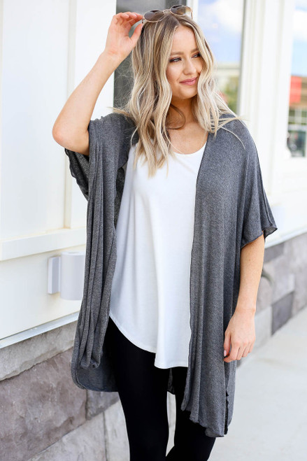Charcoal - Lightweight Knit Cardigan