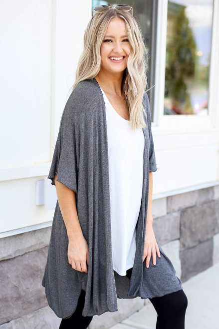 Charcoal - Lightweight Knit Cardigan Side View