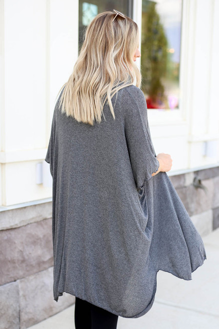 Model wearing Charcoal Lightweight Knit Cardigan Back View