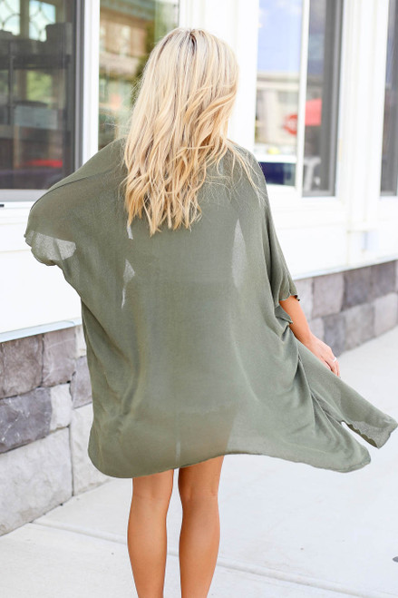 Olive - Lightweight Knit Cardigan Back View