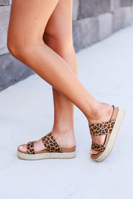 Leopard - Double Strap Platform Espadrilles on Model