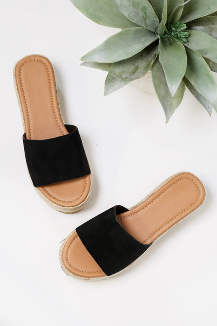 Black - Platform Espadrille Sandals Flat Lay