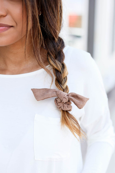 Brown - Ribbed Tie Scrunchie