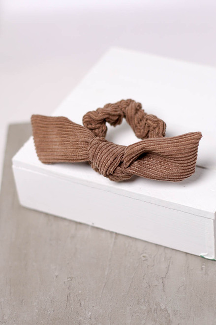 Brown - Ribbed Tie Scrunchie Flat Lay