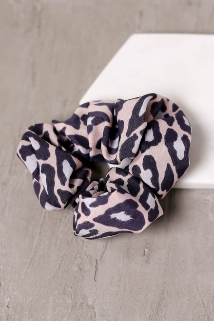 Blush - Leopard Print Scrunchie Flat Lay
