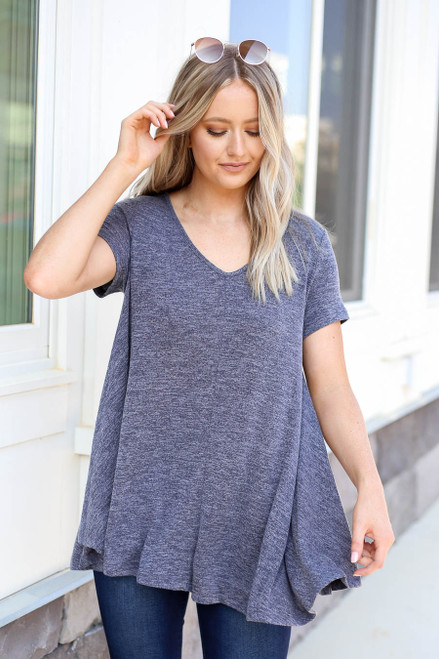 Navy - V-Neck Knit Top