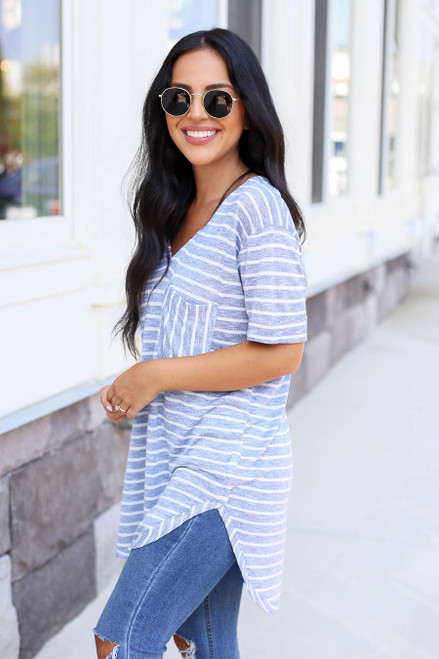 Model wearing Blue and White Striped Short Sleeve Knit Tee Side View