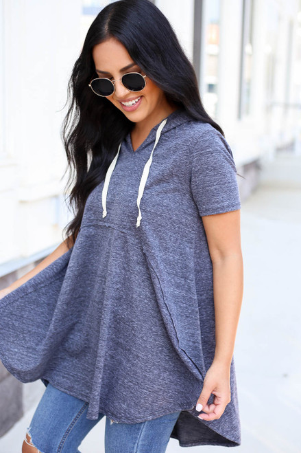 Model wearing Charcoal Hooded Top