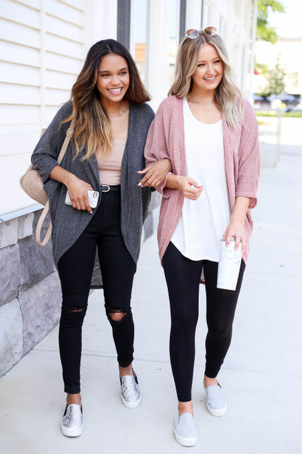Charcoal - and Mauve Knit Cardigans
