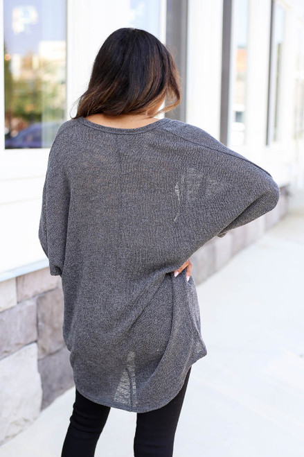 Model wearing Charcoal Knit Cardigan Back View