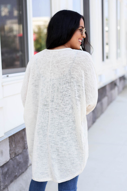 Ivory - Knit Cardigan Back View