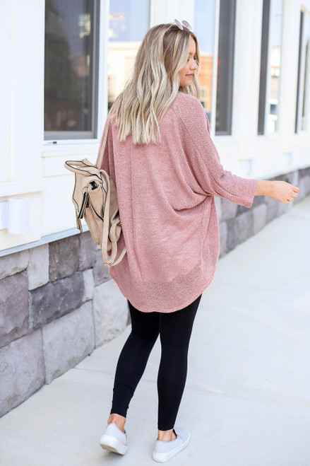 Model wearing Mauve Knit Cardigan Back View